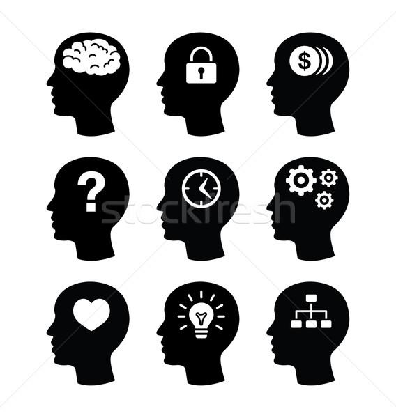 Cabeza cerebro vector pensando ideas Foto stock © RedKoala