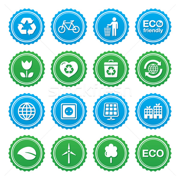 Stock photo: Eco green labels set - ecology, recycling, eco power concept
