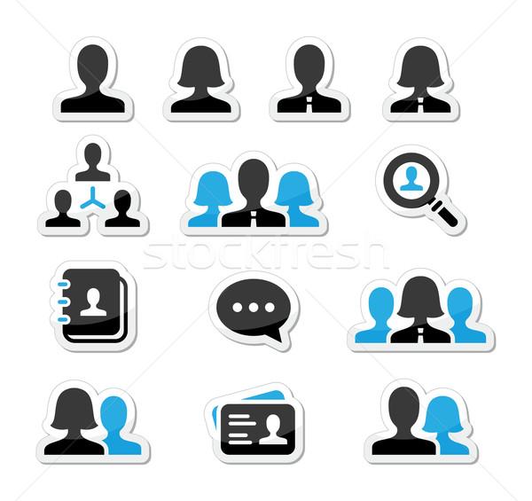 üzletember üzletasszony felhasználó vektor ikon szett modern Stock fotó © RedKoala