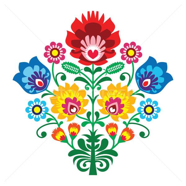 Folk embroidery with flowers - traditional polish pattern Stock photo © RedKoala