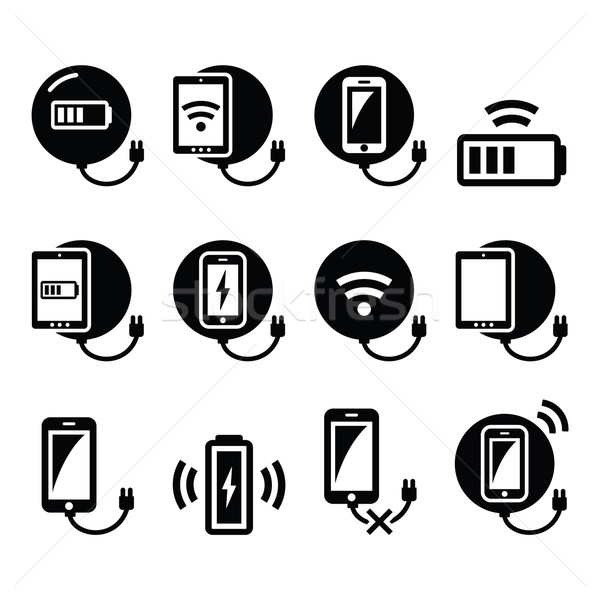 Wireless charging pad for smartphone or tablet icons set  Stock photo © RedKoala