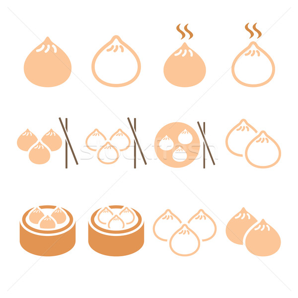 Chinese dumplings, Asian food Dim Sum vector icons set  Stock photo © RedKoala