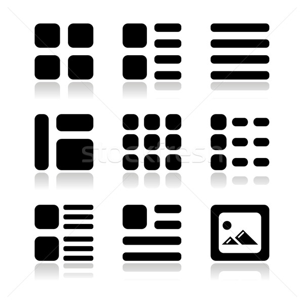 Gallery view Display options icons set - list, grid Stock photo © RedKoala