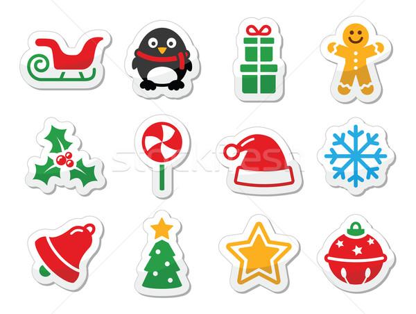 Karácsony ikonok színes címkék szett karácsony Stock fotó © RedKoala