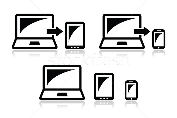 Responsive design - laptop, tablet, smarthone vector icons  Stock photo © RedKoala