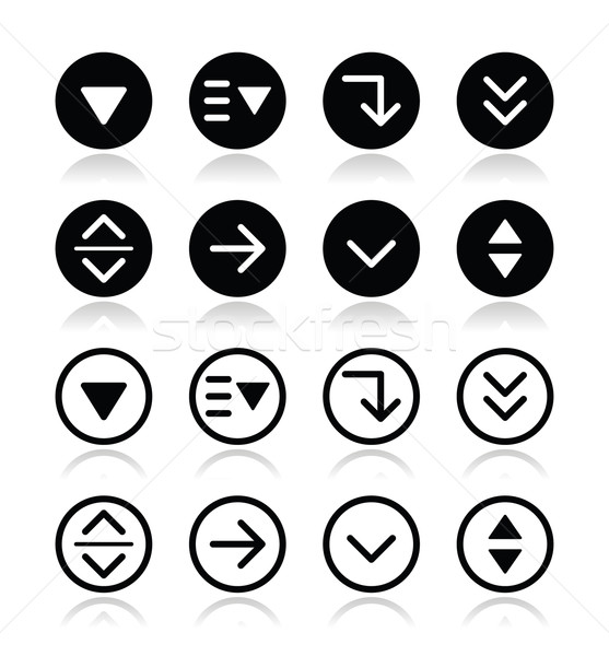 Drop down menu round icons set Stock photo © RedKoala