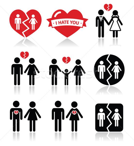 Couple breakup, divorce vector icons set  Stock photo © RedKoala