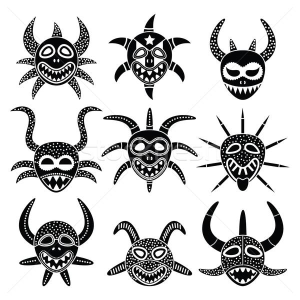 Masker carnaval Puerto Rico zwarte iconen vector Stockfoto © RedKoala