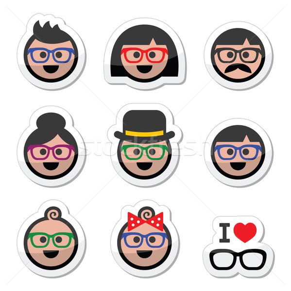 People wearing glasses, geek labels set Stock photo © RedKoala