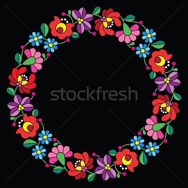 Kalocsai embroidery in circle - Hungarian floral folk pattern on black Stock photo © RedKoala