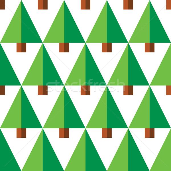 Geometric seamless pattern with green trees on white background Stock photo © RedKoala