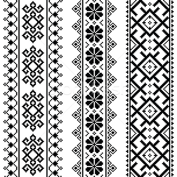Ukrainian, Belarusian black embroidery seamless pattern - Vyshyvanka Stock photo © RedKoala