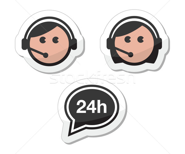 24, 7, agent, assistance, assistant, background, labels black, man, woman, user, avatar, icons, set, Stock photo © RedKoala