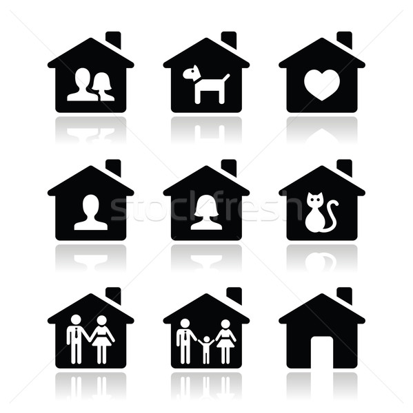 Home, family vector icons set  Stock photo © RedKoala