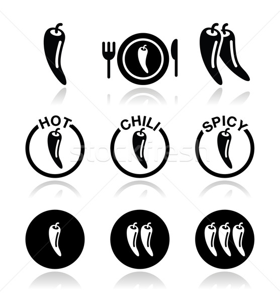 Chili peppers, hot and spicy food icons set Stock photo © RedKoala