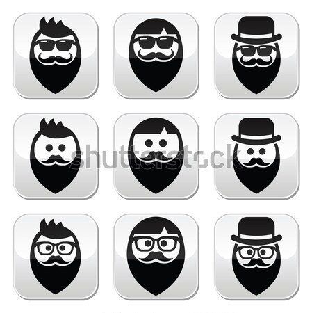 Man in hat faces vector buttons set Stock photo © RedKoala