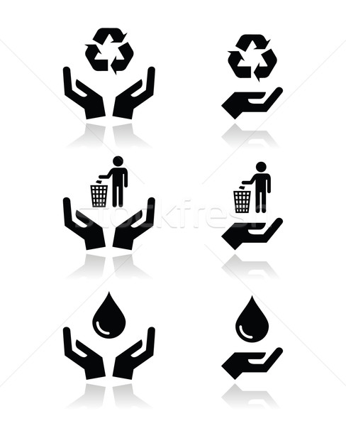 Kezek zöld ökológia szimbólumok ikon szett vektor Stock fotó © RedKoala