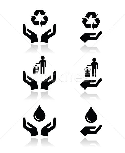 Mãos verde ecologia símbolos vetor Foto stock © RedKoala