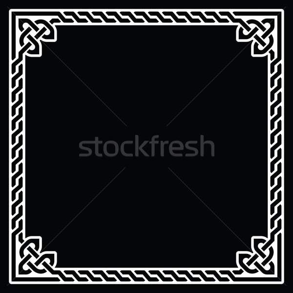 Celtic frame, border white pattern on black Stock photo © RedKoala