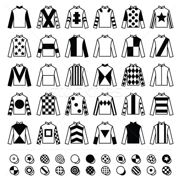Jockey uniform - jackets, silks and hats, horse riding icons set  Stock photo © RedKoala
