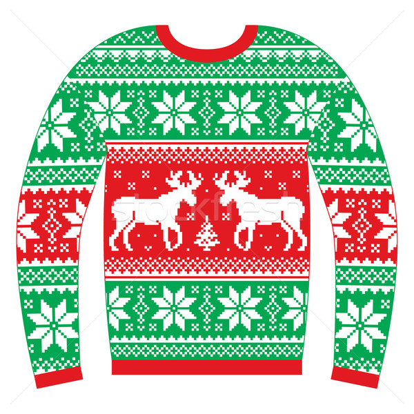 Stock photo: Ugly Christmas jumper or sweater with reindeer and snowflakes red and green pattern