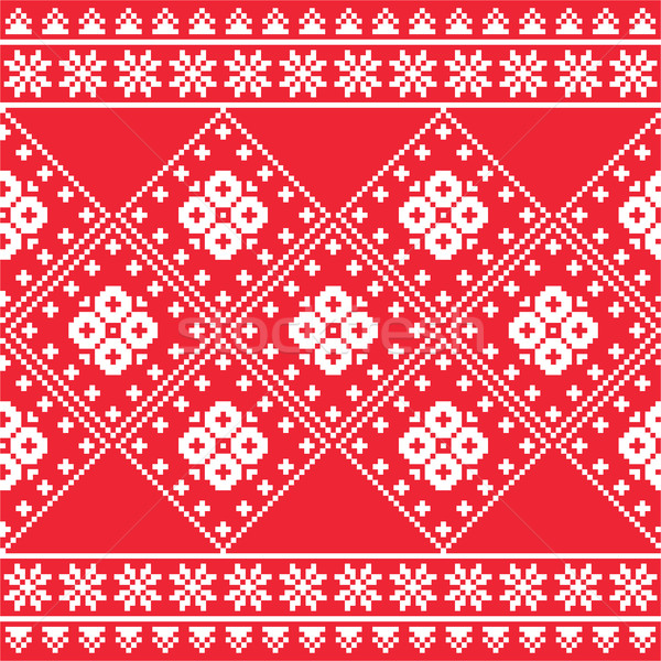 Ukrainian, Eastern European folk art embroidery pattern or print   Stock photo © RedKoala