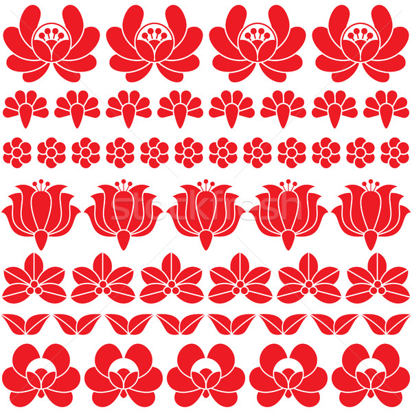 Sin costura húngaro rojo arte patrón floral Foto stock © RedKoala