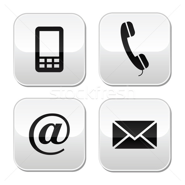 Contact buttons set - email, envelope, phone, mobile icons Stock photo © RedKoala