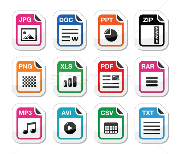 File type icons as labels set - zip, pdf, jpg, doc Stock photo © RedKoala