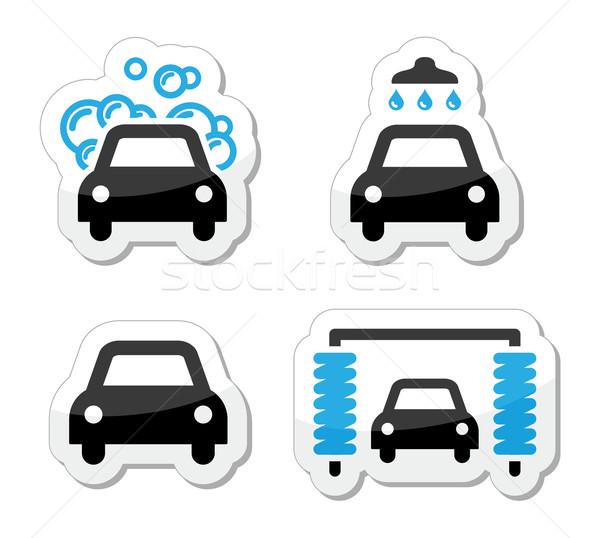 Car wash icons set - vector Stock photo © RedKoala