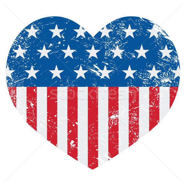 Stockfoto: USA · amerika · retro · hart · vlag · vector