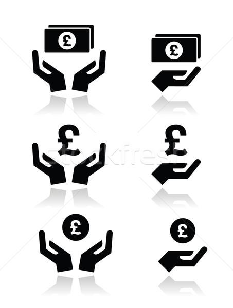 Handen pond bankbiljet munt vector Stockfoto © RedKoala