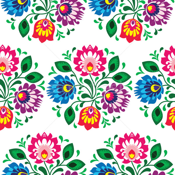 Seamless traditional floral pattern from Poland on white background Stock photo © RedKoala