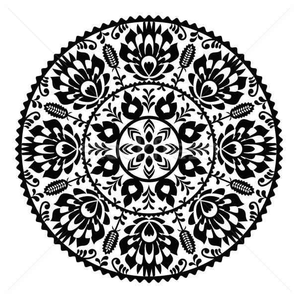 Stock photo: Polish traditional black folk pattern in circle - Wzory Lowickie