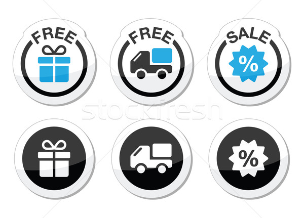 Free gift, free delivery, sale labels set Stock photo © RedKoala