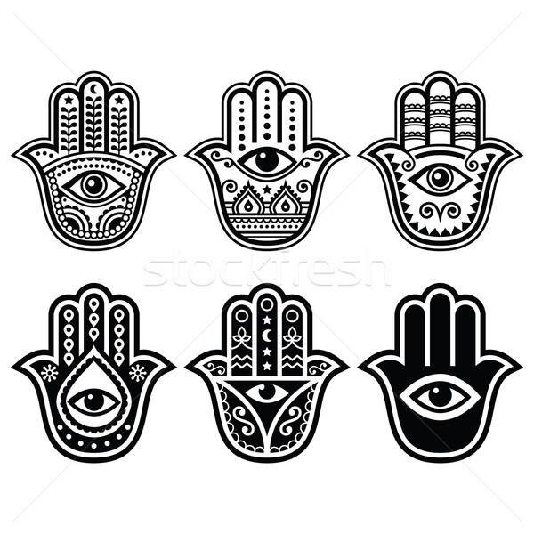 ストックフォト: 手 · お守り · シンボル · 保護 · 悪魔 · 眼