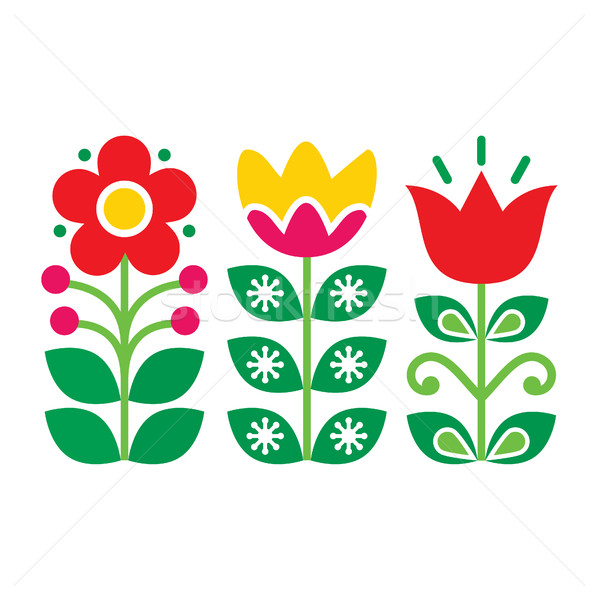 Swedish floral retro pattern - traditional folk art design  Stock photo © RedKoala