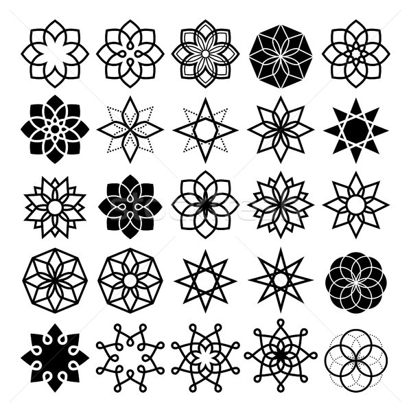 Geometric flower and stars collection, lineart abstract flower icons set Stock photo © RedKoala