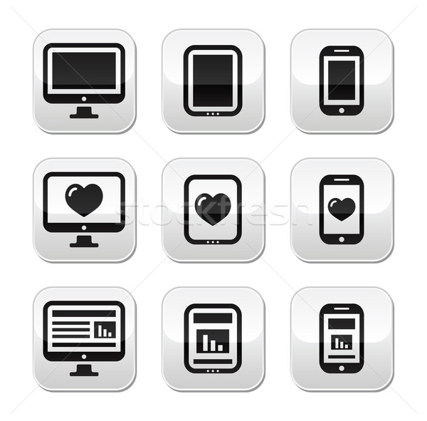 Responsive website design - computer screen, mobile, tablet buttons set Stock photo © RedKoala