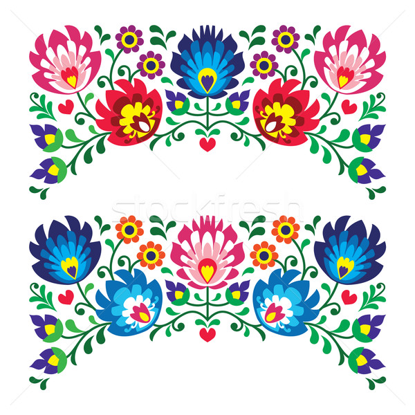 Polish floral folk embroidery patterns for card Stock photo © RedKoala