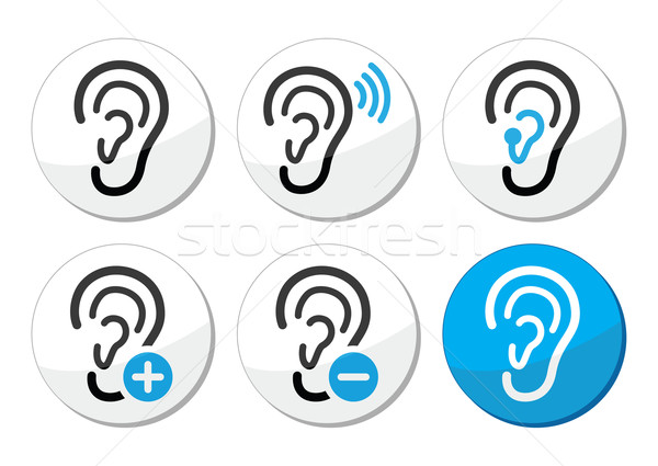 Ear hearing aid deaf problem icons set Stock photo © RedKoala