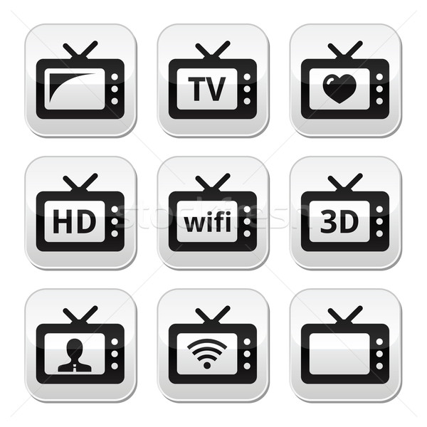 TV set, 3d, HD vector buttons  Stock photo © RedKoala