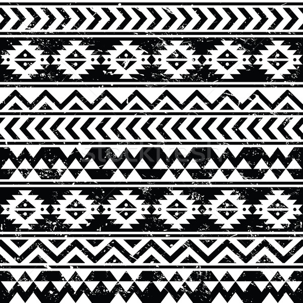 Vector seamless retro aztec ornament, ethnic background Stock photo © RedKoala
