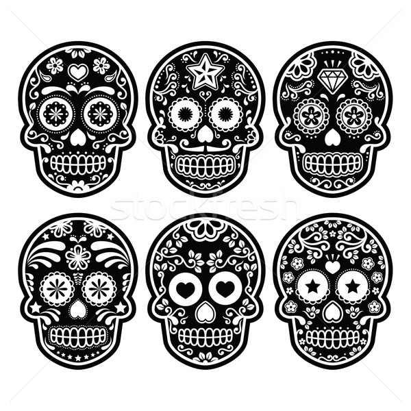 Mexican sugar skull, Dia de los Muertos black icons set Stock photo © RedKoala