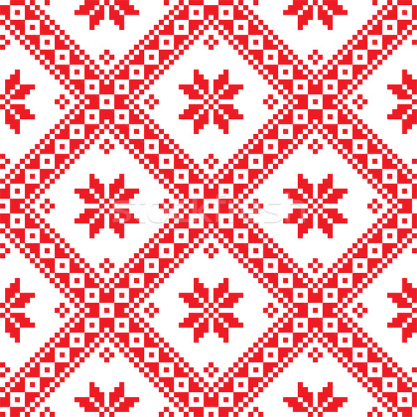 Seamless Ukrainian Slavic folk emboidery pattern Stock photo © RedKoala