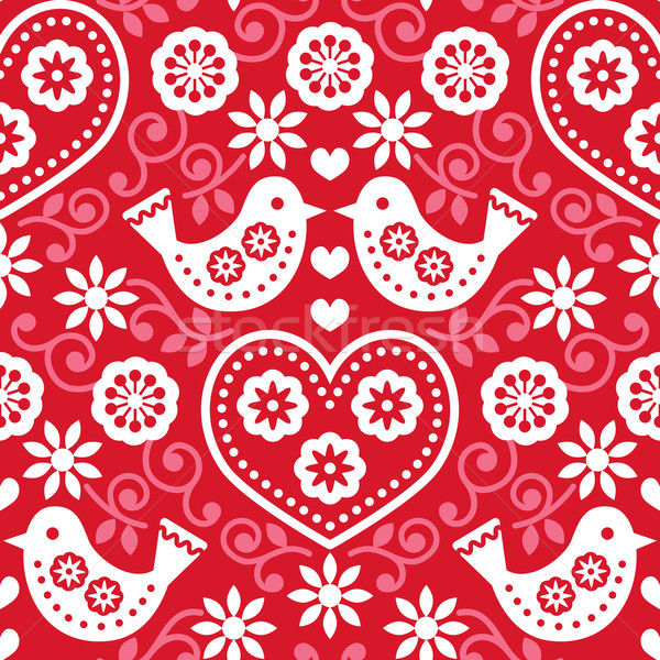 Folk art red seamless pattern with flowers and birds Stock photo © RedKoala