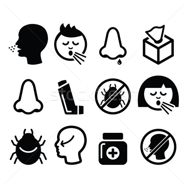 Cold, flu icons - nasal infection, allergy, nose design  Stock photo © RedKoala