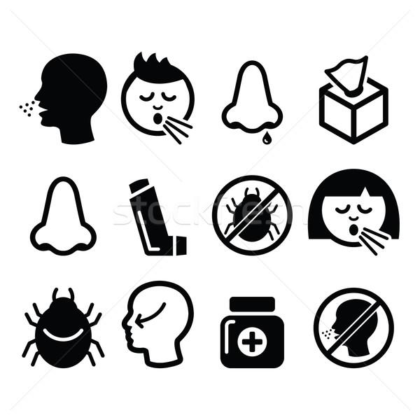 Zimno grypa ikona zakażenie alergia nosa Zdjęcia stock © RedKoala