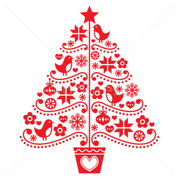 Christmas tree design - folk style with birds, flowers and snowflakes  Stock photo © RedKoala