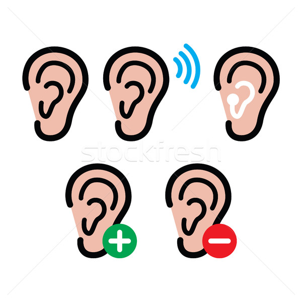 Ear hearing aid, deaf person - health problem icons set Stock photo © RedKoala